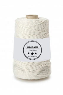 Macrame příze PREMIUM 5mm/100m - natural