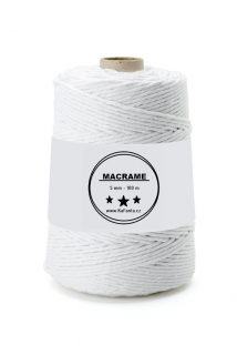 Macrame příze PREMIUM 5mm/100m - artic white